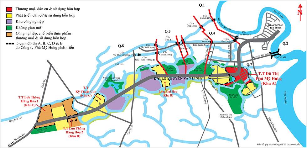 Bản đồ minh họa đường đến đô thị Phú Mỹ Hưng