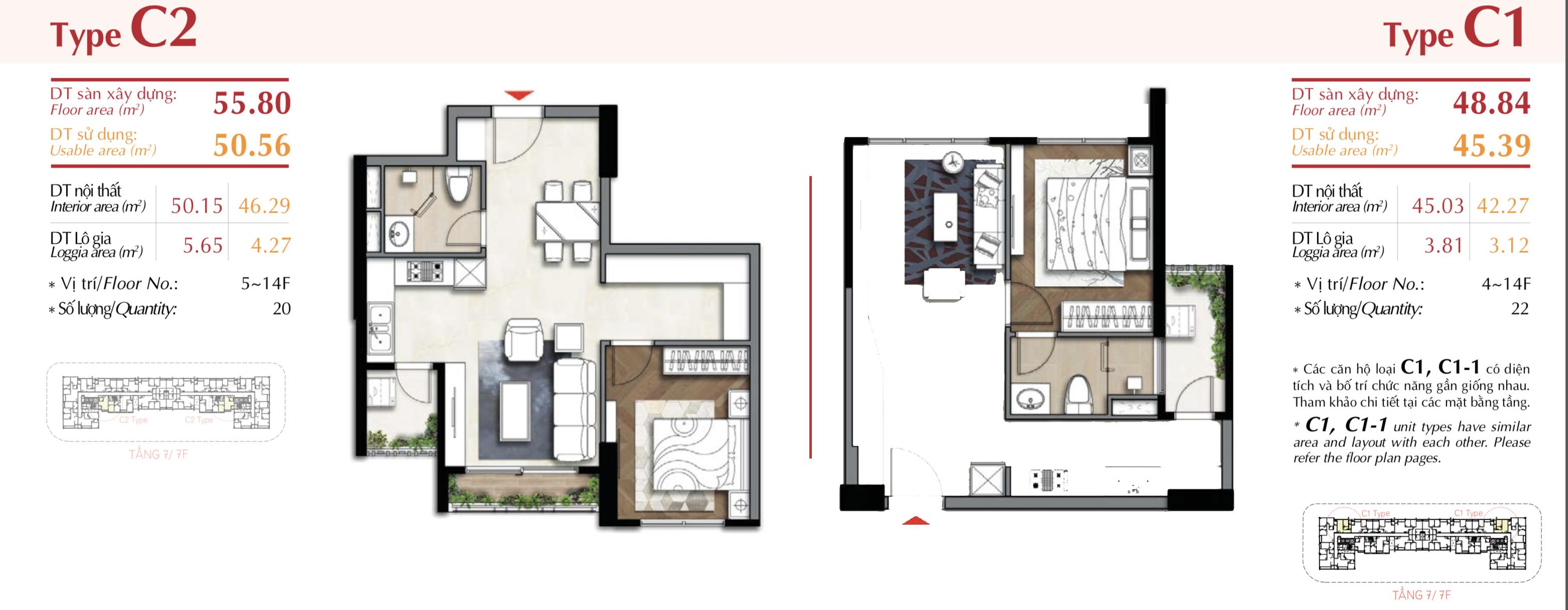 mặt bằng căn hộ 1 phòng ngủ ascentia