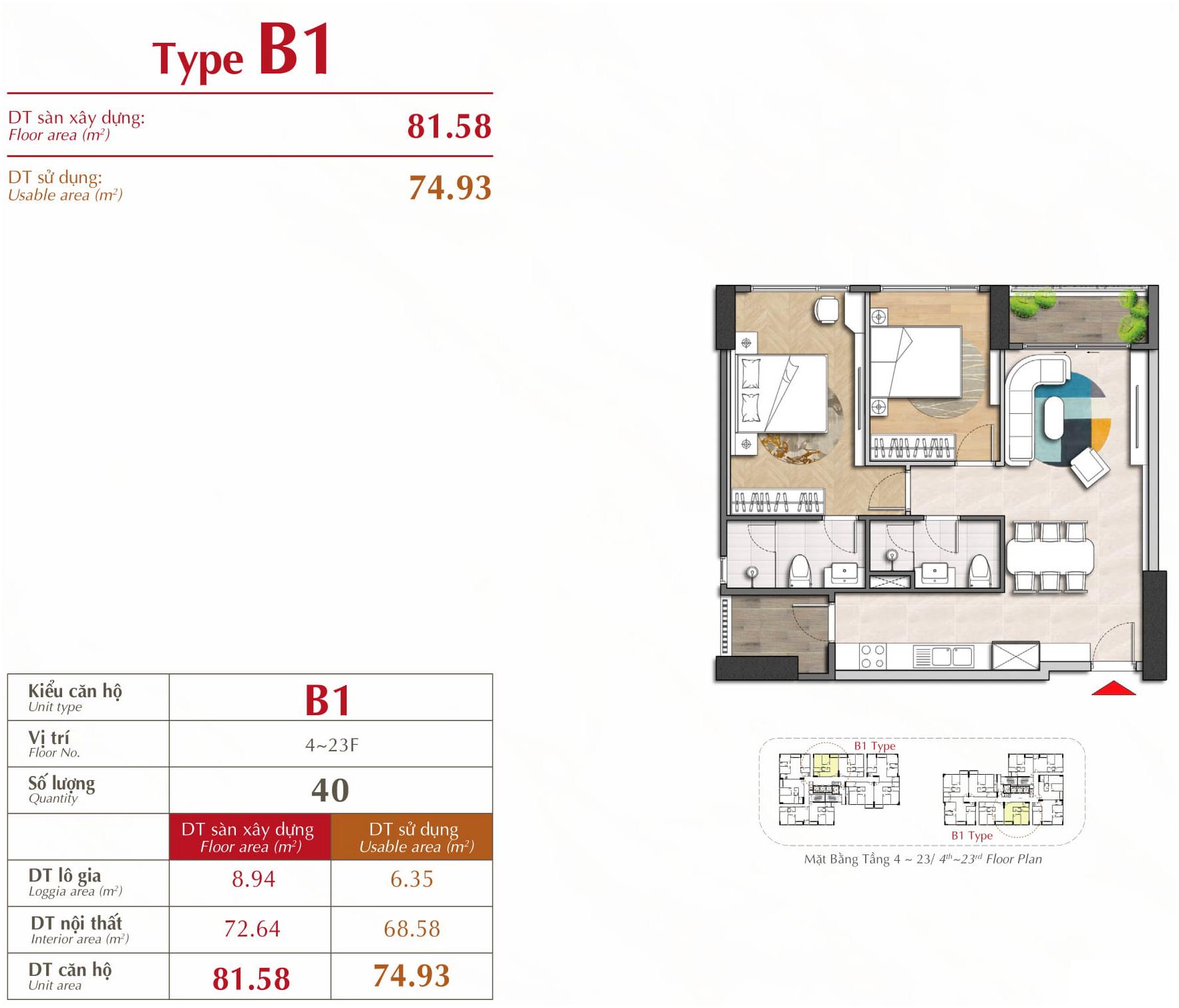 căn hộ 2 phòng ngủ b1 the antonia