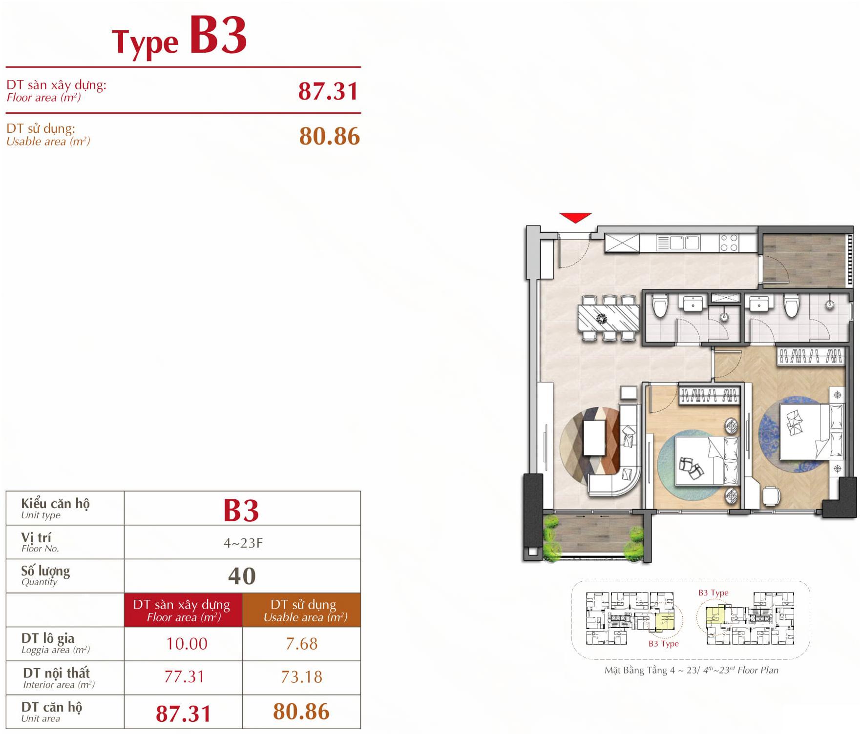 căn hộ 2 phòng ngủ loại B3 The Antonia