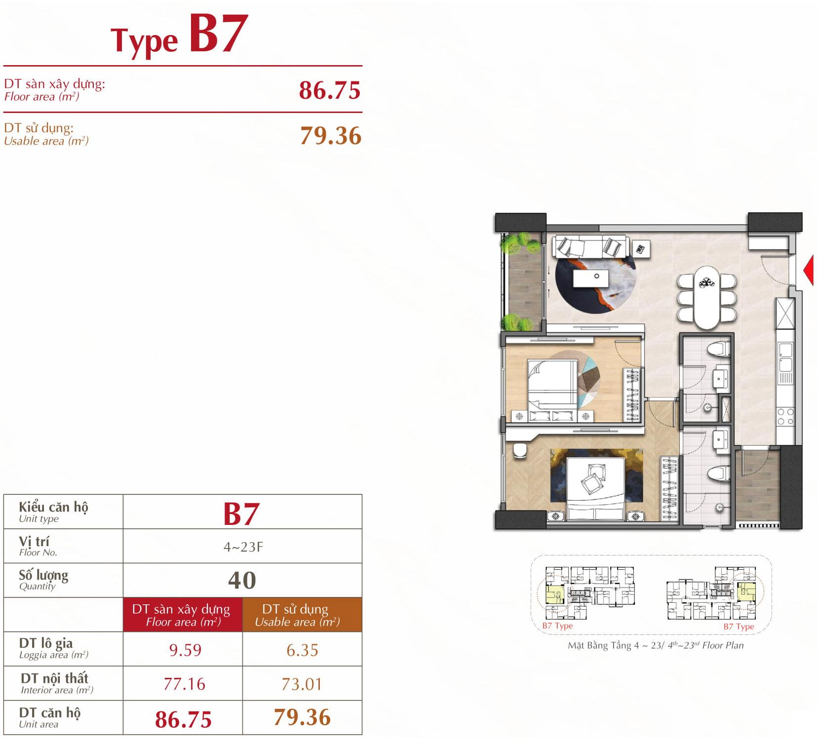 căn hộ 2 phòng ngủ loại B7 The Antonia