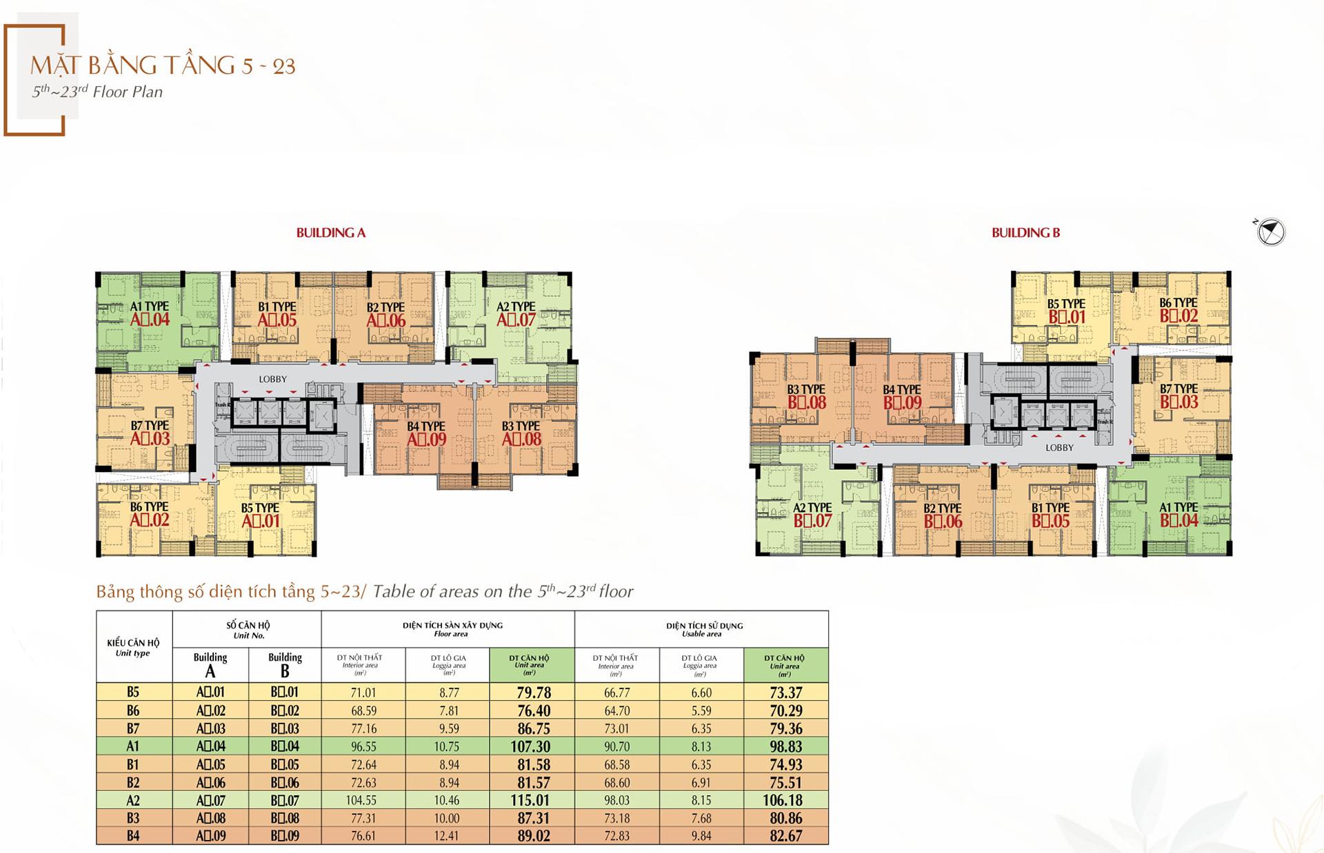 mặt bằng tầng 5 - 23 dự án the antonia